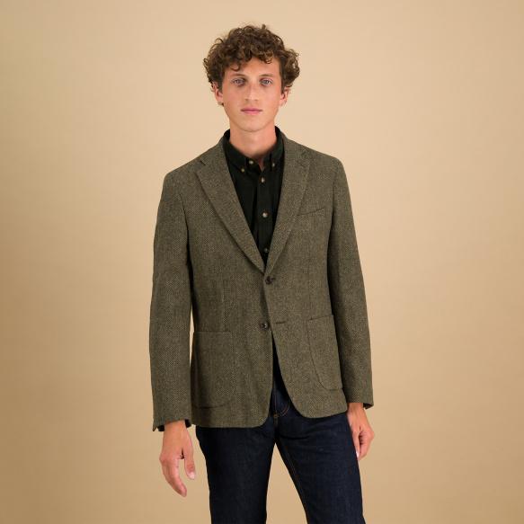 Veste en laine à chevrons verte